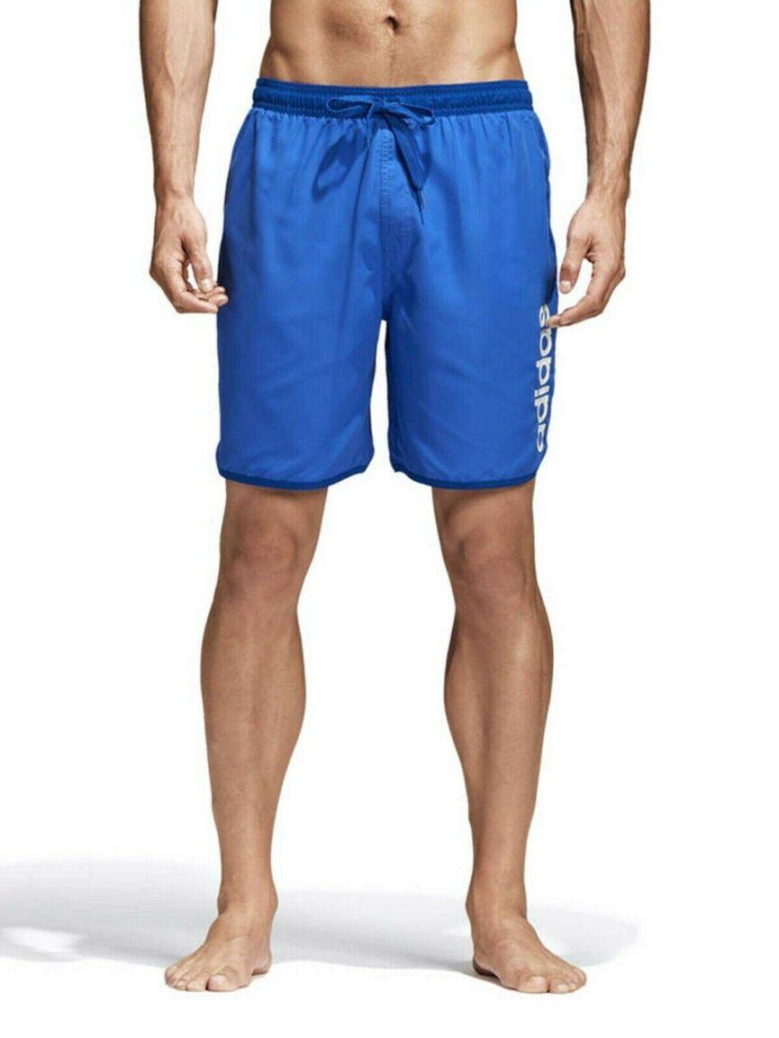 Adidas Mens Linear Split Swim Shorts Blue